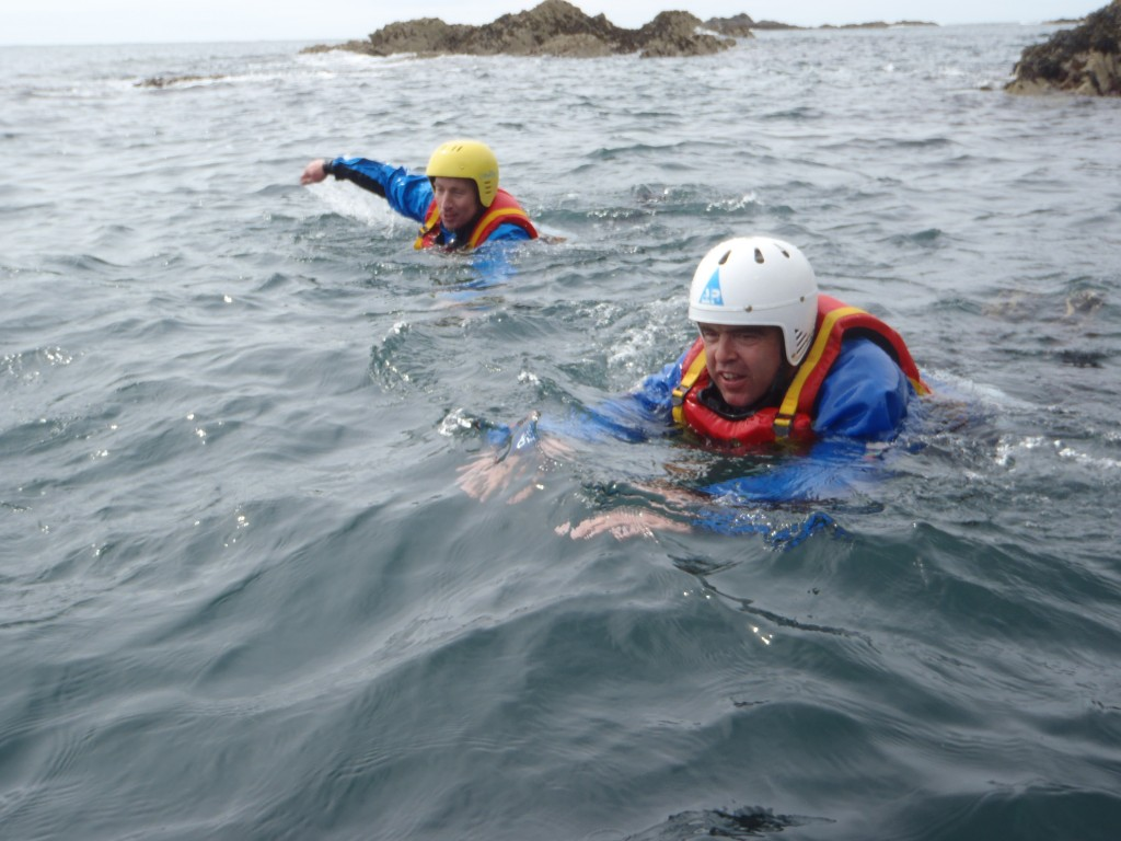 swimming while coasteering